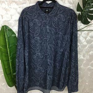 H & M Men's Navy Blue Paisley Shirt XL